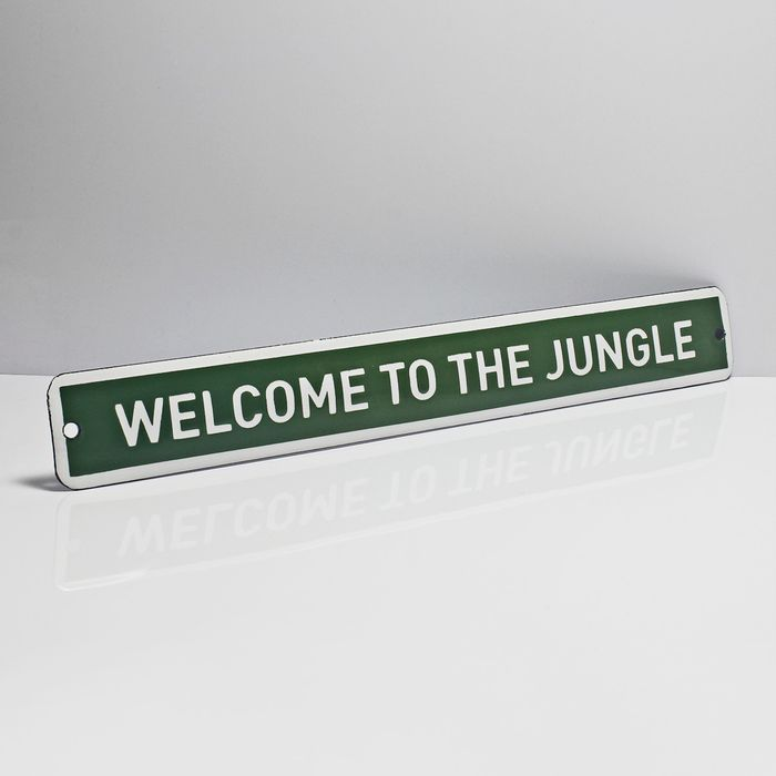 Placa-esmaltada-WELCOME-TO-THE-JUNGLE---35-x-4.5-cm